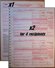 2018 IRS Tax Form 1099-MISC Carbonless for 4 recipients + (1) 1096 --->> NO Env