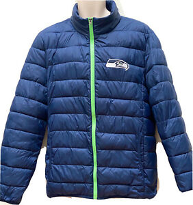 NFL mens Seattle Seahawks Solid Packaway Puffer Nylon Jacket Large NEW No Tags.