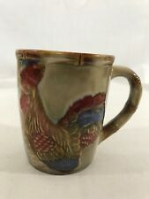 Vintage COLORFUL ROOSTER FARM COUNTRY CHICKEN Glazed Pottery Coffee Tea Mug