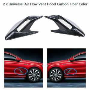 2x Carbon Fiber Look Car Decorative Side Vent Cover Hood Air Flow Fender Sticker