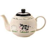 Price & Kensington Home Farm Design Cream Black 6 Cup Teapot 1100ml 39fl oz NEW