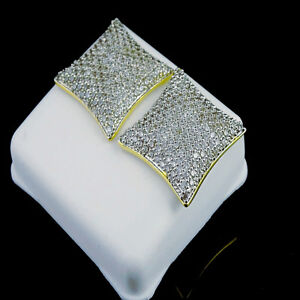 YELLOW GOLD FINISH BIG BOLD 18MM NEW MEN KITE SQUARE LAB DIAMOND STUD EARRINGS