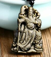 Natural Gold Obsidian Carved Chinese Sword GuanGong Lucky Pendant +free Necklace