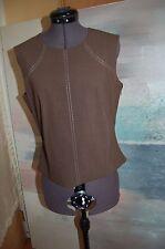 Escada Brown Wool/Elastane Sleeveless Top Shirt Size 36