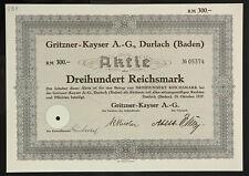 🇩🇪GERMANY 838/M -Gritzner-Kayser A.-G., Durlach (Baden) 1937 300 RM🇩🇪