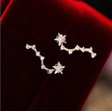 "Super Sprakling ""Big Dipper"" Stars 14k Gold GP Cubic Zirconia Stud Earring"