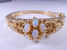 Opal and 14K Gold Bangle Hinged Bracelet elegant