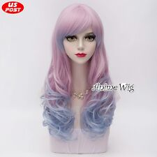 60CM Curly Blue Mixed Pink Gradient Harajuku Lolita Style Women Cosplay Hair Wig
