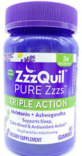 ZzzQuil PURE Zzzs Triple Action Melatonin Sleep-Aid with Ashwagandha 60 Gummies
