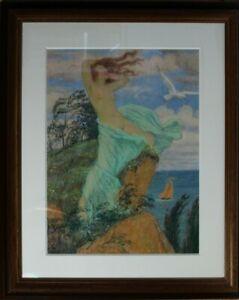 Jugendstil Pastell Art Ludwig von Hofmann Weiblicher Akt auf einer Klippe 1913?