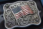 Nocona  Belt Buckle USA Flag Patriotic American Flag Belt Buckle 37702