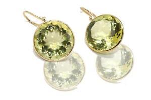 18k yellow Gold Handmade Lemon Topaz hanging earrings in bezel setting.