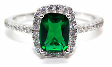 Sterling Silver Emerald And Diamond 3.6ct Ring (925) Size 7 (N) Free Gift Box