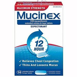 Mucinex Maximum Strength 12HR Expectorant 14 Bi-Layer Tablets NIB