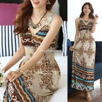 Summer Women's V Neck Bohemian Floral Pattern Slim Long Maxi Beach Dress