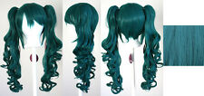 23'' Curly Pig Tails + Viridian Green Cosplay Wig NEW