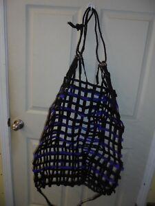 "Tough 1  Web Hay Feeder with Drawstring - Purple & Black - 26""x 30"" - NEW -"