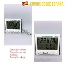 Termómetro Digital LCD Temperatura Exterior Interior Mínima Higrómetro Cable