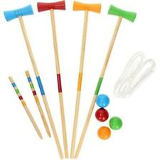 Juniors 20pc Wooden Croquet Garden Game Mallet Balls Hoops Set 4 Players