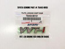 GENUINE TOYOTA VVT-i VVTI Plate Emblem Logo Chrome Red ABS Part# 75443-06151