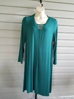 Boutique Casual Tank Dress A-Line Shift Long Sleeve Stretchy Plus Size Green NWT