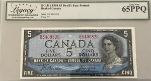 1954 Bank of Canada $5 Devil's Face Note - Legacy Gem New 65 PPQ S/N:D/C8409826