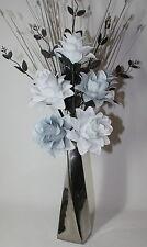Artificial Silk Flower Arrangement White  Grey Flowers in Silver Twist Vase.