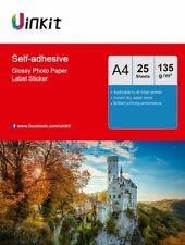 A4 Sticky Photo Paper Self Adhesive Inkjet Paper High Glossy 135Gsm - 25 Sheets