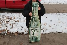 "Rare Large Vintage 1942 7Up 7 Up Soda Pop Gas Station 44"" Embossed Metal Sign"