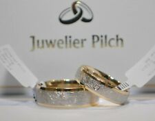 1 Paar Gold 375 Trauringe Eheringe Eismatt/Poliert Bicolor mit Diamant