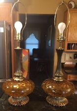 2 Vintage Table Lamp Mid Century With Amber Glass Metal Hollywood Regency 3 Way