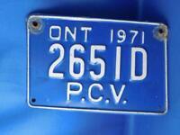 ONTARIO LICENSE PLATE PCV  1971 2651D VINTAGE CANADA SHOP MAN CAVE SIGN