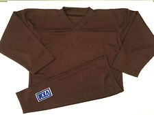 VKM Venus Long Sleeve Hockey Practice Jersey Brown V-Neck YOUTH S/M Poly NEW