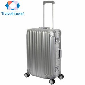 Travelhouse London - Reisekoffer M - Polycarbonat Hartschale Alu-Rahmen Silber