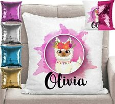 Personalised Llama Pillow Magic Sequin Mermaid Cushion Cover 5 Colours