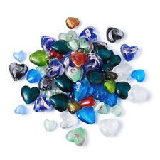 100pc Random Lampwork Heart Glass Beads Silver Foil Handmade Loose Beads 12~20mm