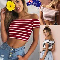 AU Summer Women Girl Off Shoulder Short Sleeve Striped Tee Blouse Crop T-shirt