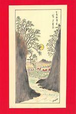 Dessin encre de chine & aquarelle Japon Hand made china ink signé Geneviève n3