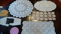 6 vintage crocheted doilies & table pieces hand crafted in Nova Scotia c.1960