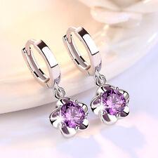 Real 925 Silver Amethyst Crystal Flower Earrings Ear Buckle Women Jewelry