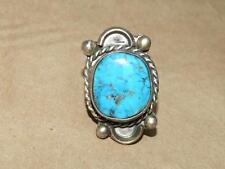Vtg 70s Southwest Sterling Silver LG Blue Matrix Turquoise Beaded Rope Ring sz 6