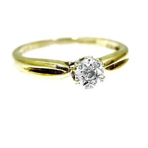 9ct 9k Gold Diamond Solitaire Ring Size 6 1/4 - M