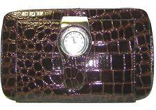 NARMI Watch Brown Croco Patent Bifold Wallet Clutch New