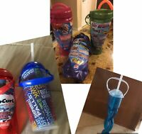 Set Of 6 Six Flags/Darien Lake Souvenir Refillable Bottles With Straw Lid Handle