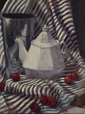 Black White stripes Tea Pot Oil painting still life Margaret Aycock original