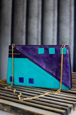 Designer vintage teal & purple leather & lucite IPES handbag shoulder/clutch bag