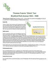 Chick Farr Bradford Park Avenue 1934-1949 Muy Raro Original Corte firmada a mano