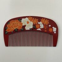 Japanese Beautiful Hair Comb in Red Color shipped from Kyoto Japan