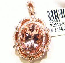 5.62CT 14K Gold Natural Morganite White Diamond Vintage Engagement Necklace Deco
