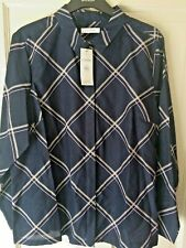 8cc4c3f07c6 Marks and Spencer Classic Ladies Navy Mix Blouse Shirt Size 24 With Tags